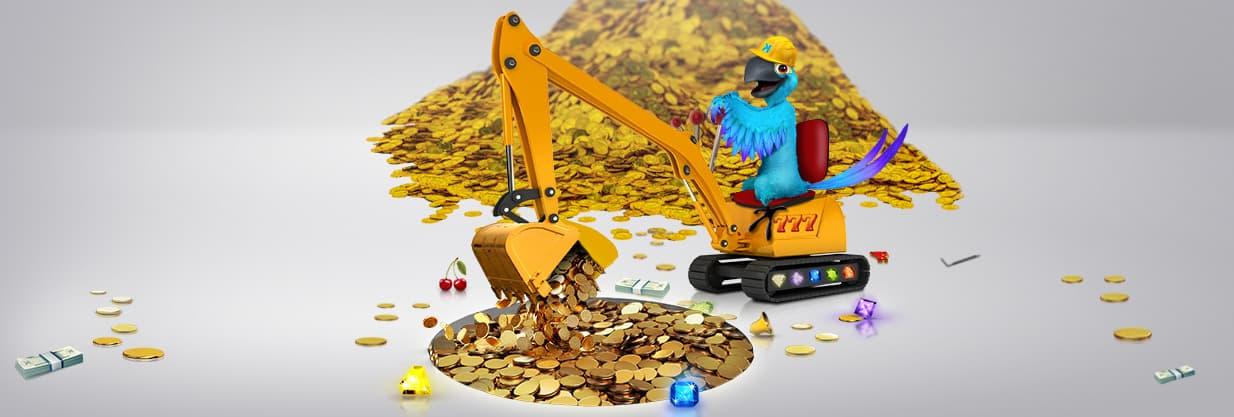 Papegøje graver efter guld