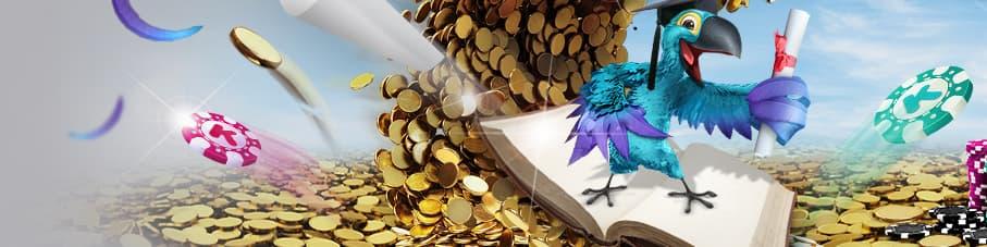 Papegøje står på bog bland bjerg af guldmønter