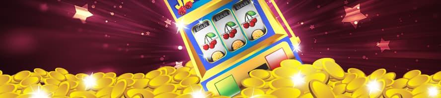 Spilleautomat i en bunke med mønter