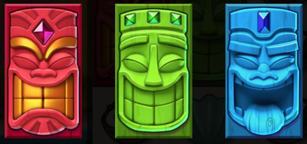 Aloha spilleautomat Tiki symboler der tæller for 2 symboler