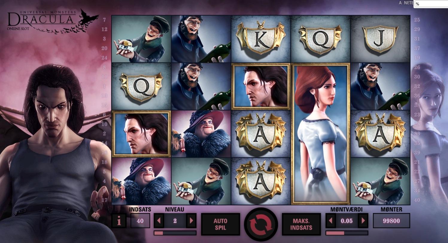 Dracula spilleautomat symboler i spillet