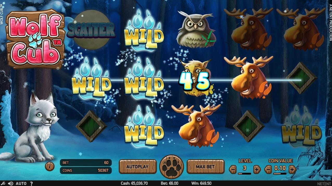 Wolf Cub spilleautomat symboler og spilleplade