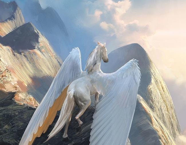 Pegasus står på en klippe