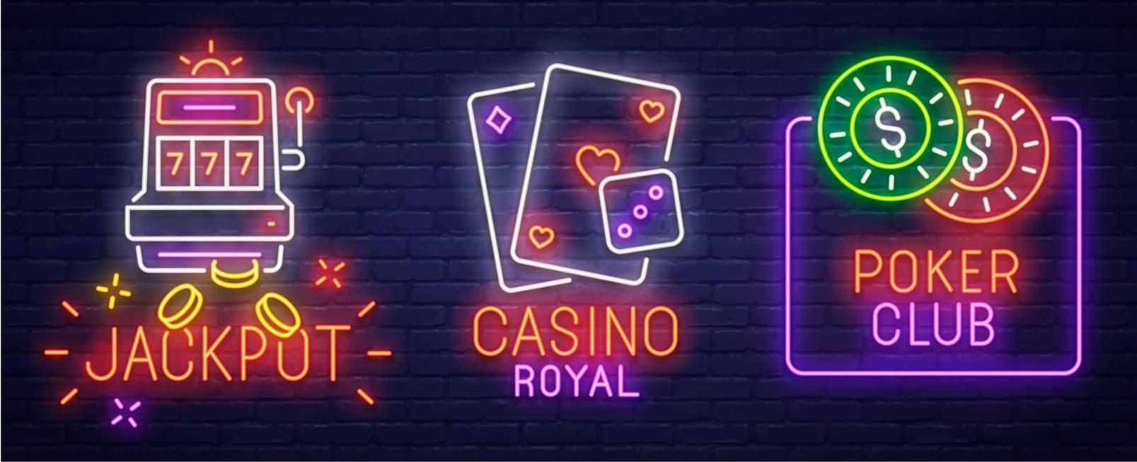 Neon skilt med online spil