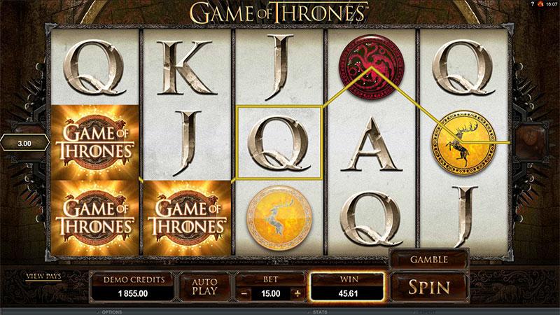 Game of Thrones spilleautomat Spilleplade med Symboler