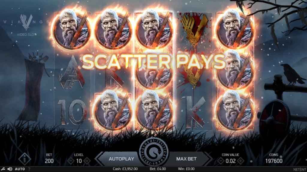 Vikings Spilleautomat Scatter Gevinst på Spilleplade