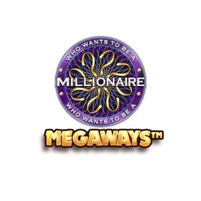 Who Wants to be a Millionaire spilleautomat Logo Megaways og Hvid Baggrund